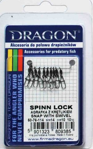 Закопчалка с вирбел DRAGON - Spinn Lock Swivel